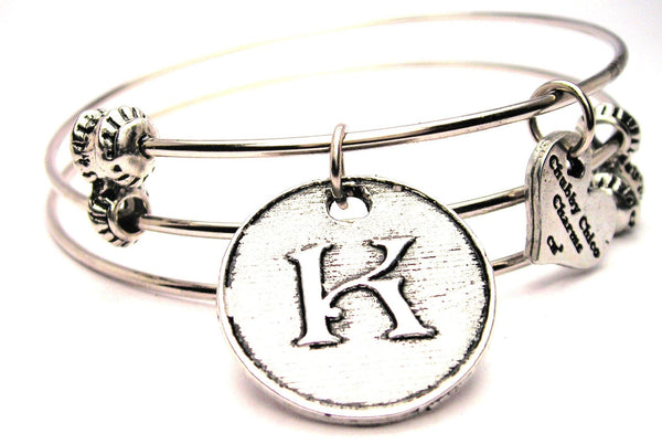 Initial K Circle Triple Style Expandable Bangle Bracelet