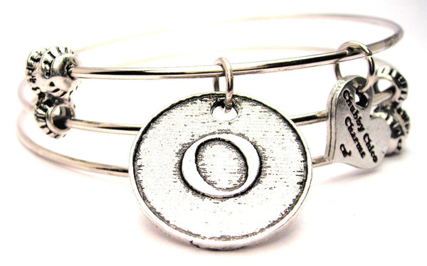 Initial O Circle Triple Style Expandable Bangle Bracelet