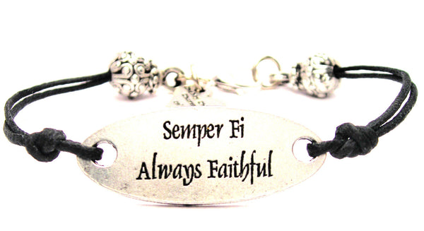Semper Fi Always Faithful Plate Black Cord Bracelet
