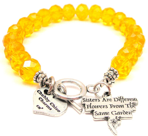 Sisters Are Different Flowers From The Same Garden Crystal Beaded Toggle Style Bracelet