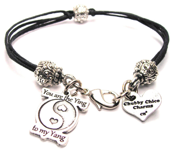You Are The Ying To My Yang Beaded Black Cord Bracelet