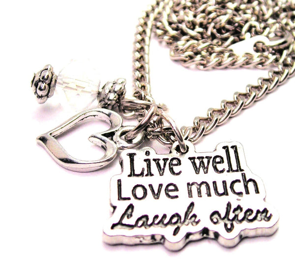 Live Well Love Much Laugh Often Necklace with Small Heart