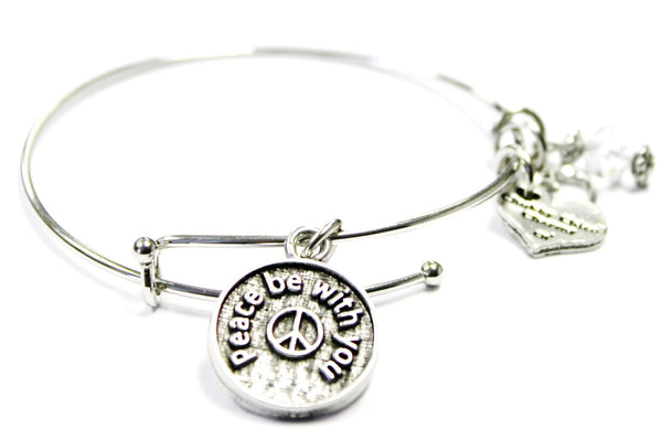 Peace Be With You Expandable Bangle Bracelet Set
