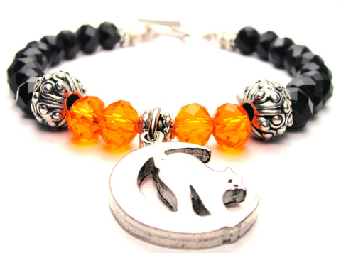 Cat On Moon Black And Pumpkin Orange Halloween Crystal Beaded Toggle Style Bracelet