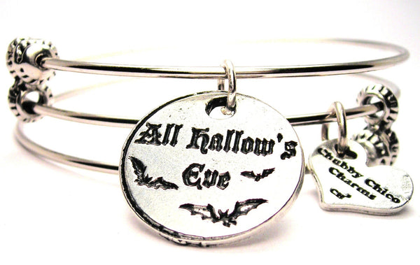 All Hallows Eve Circle With Bats Triple Style Expandable Bangle Bracelet