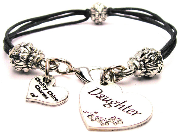 Daughter Heart Beaded Black Cord Bracelet