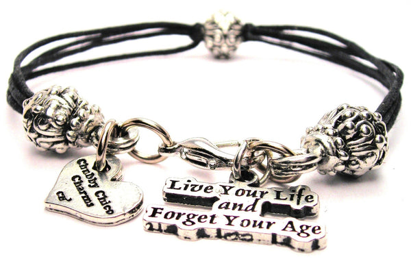 Live Your Life And Forget Your Age Beaded Black Cord Bracelet