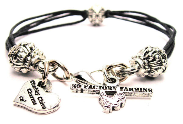 No Factory Farming Beaded Black Cord Bracelet