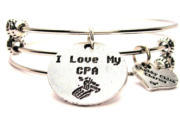 I Love My CPA Triple Style Expandable Bangle Bracelet