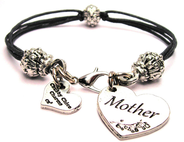 Mother Heart Beaded Black Cord Bracelet