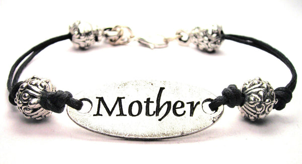 Mother Plate Black Cord Bracelet