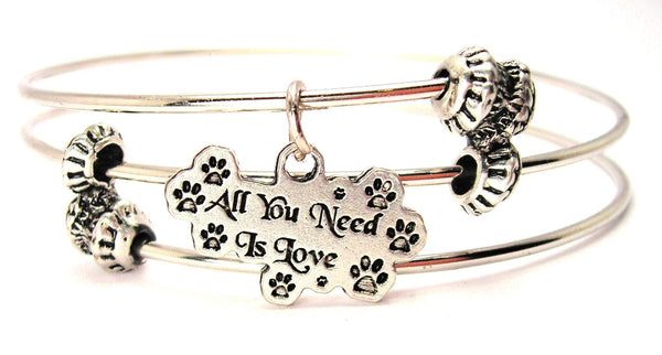 All You Need Is Love Paw Prints Triple Style Expandable Bangle Bracelet