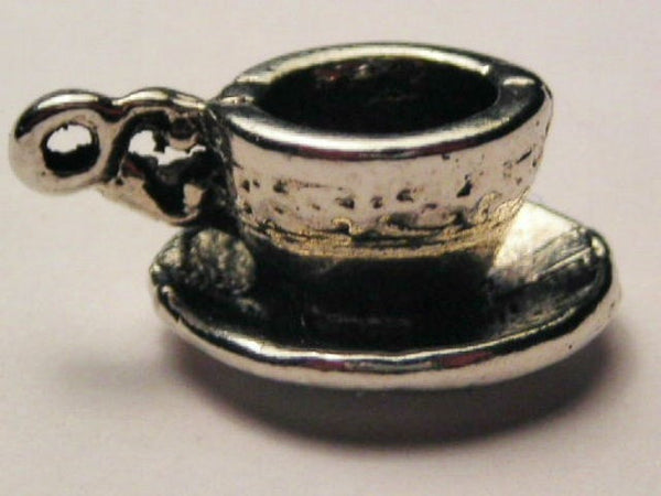 Chunky Coffee Cup Genuine American Pewter Charm