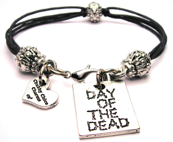 Day Of The Dead Beaded Black Cord Bracelets