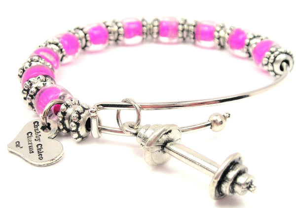 barbell jewelry, barbell bracelet, exercise jewelry, fitness jewelry, fitness bracelet