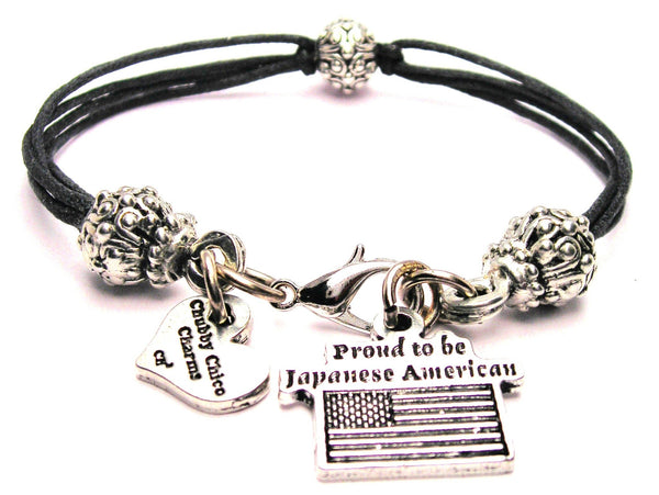 Proud To Be Japanese American Beaded Black Cord Bracelet