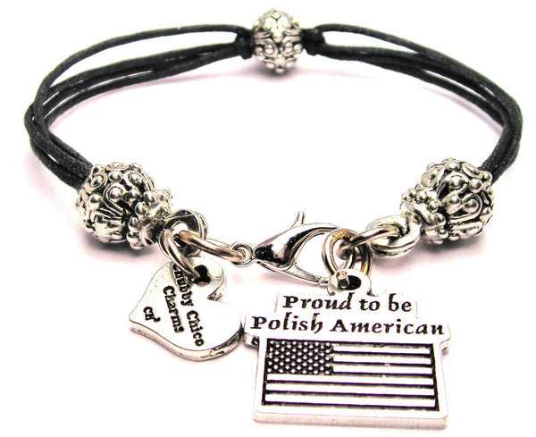 Proud To Be Polish American Beaded Black Cord Bracelet