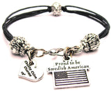 Proud To Be Swedish American Beaded Black Cord Bracelet