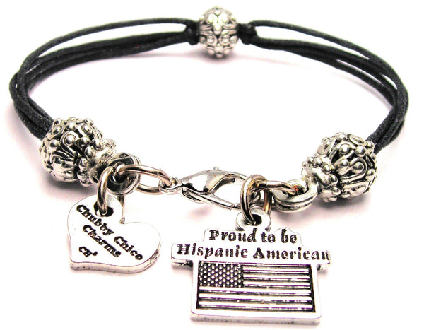 Proud To Be Hispanic American Beaded Black Cord Bracelet