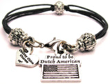 Proud To Be Dutch American Beaded Black Cord Bracelet