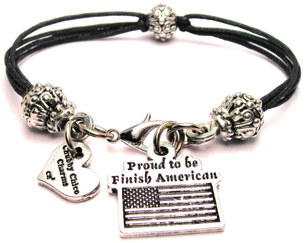 Proud To Be Finish American Beaded Black Cord Bracelet