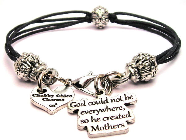 God Could Not Be Everywhere So He Created Mothers Beaded Black Cord Bracelet