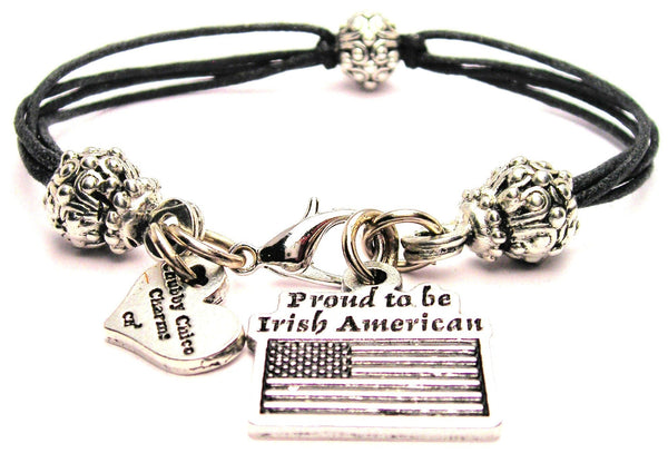 Proud To Be Irish American Beaded Black Cord Bracelet