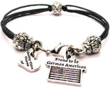 Proud To Be German American Beaded Black Cord Bracelet