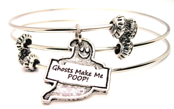 Ghost Make Me Poop Triple Style Expandable Bangle Bracelet