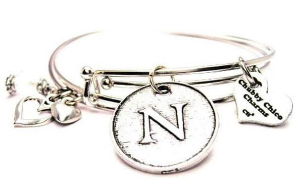 Initial N Expandable Bangle Bracelet Set