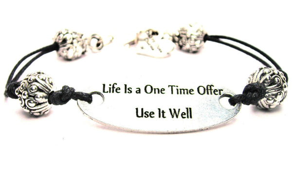 Life Is A One Time Offer Use It Well Plate Black Cord Bracelet