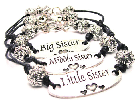 Little Sister Middle Sister Big Sister 3 Piece Black Cord Bracelet Set