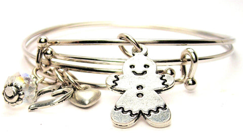 Gingerbread Boy Cookie Expandable Bangle Bracelet Set