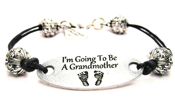 I'm Going To Be A Grandmother Plate Black Cord Bracelet