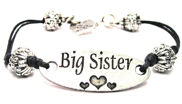 Big Sister With Hearts Plate Black Cord Bracelet