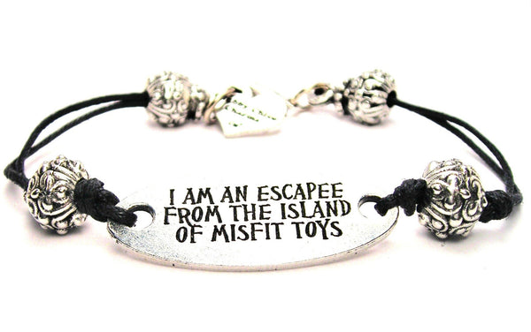 I Am An Escapee From The Island Of Misfit Toys Plate Black Cord Bracelet