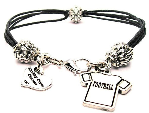 Football Jersey Beaded Black Cord Bracelet