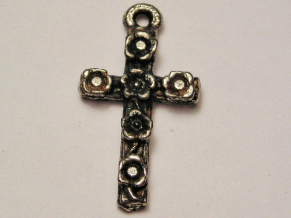 Flowered Gothic Cross Genuine American Pewter Charm