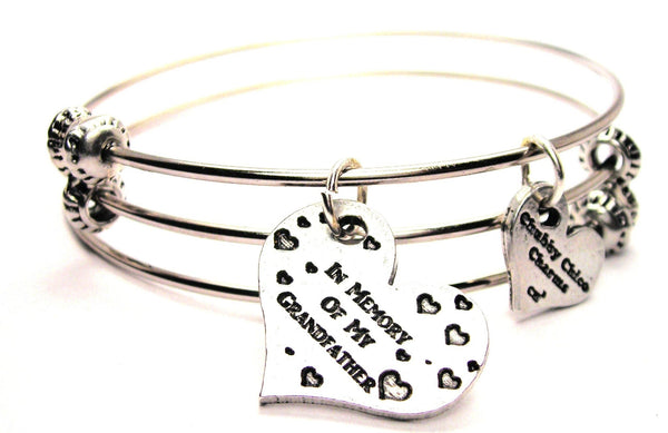 In Memory Of My Grandfather Triple Style Expandable Bangle Bracelet