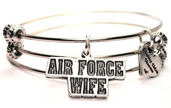 Air Force Wife Block Letters Triple Style Expandable Bangle Bracelet