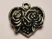 Heart With 2 Roses Genuine American Pewter Charm