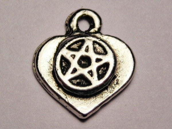 Heart With Pentacle Genuine American Pewter Charm