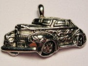 Hot Rod With Flames Genuine American Pewter Charm