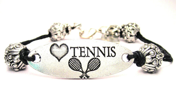 Love Tennis Plate Black Cord Bracelet