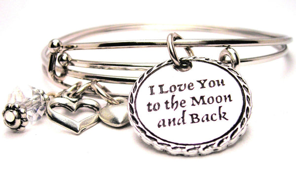 I love you to the moon and back bracelet, I love you bracelet, love bracelet, love expression bracelet