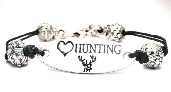 Love Hunting Plate Black Cord Bracelet
