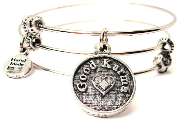 Good Karma Circle Triple Style Expandable Bangle Bracelet