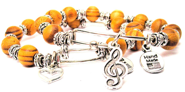 Treble Clef Music Note Natural Wood Double Bangle Set