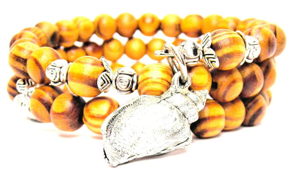 Conch Shell Natural Wood Wrap Bracelet