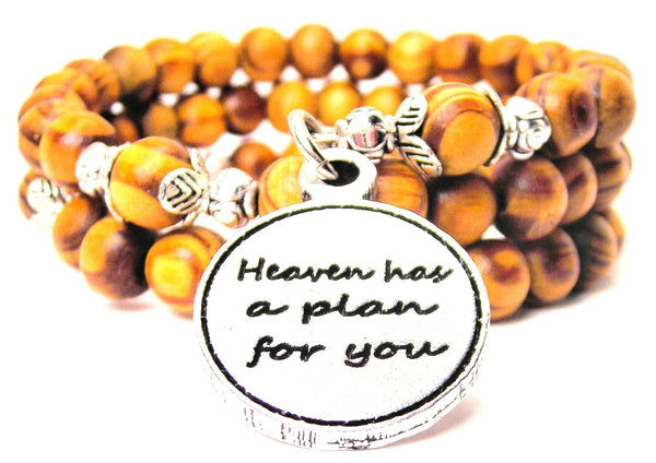 Heaven Has A Plan For You Natural Wood Wrap Bracelet